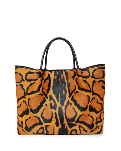 Wilfred Animal-Print Fur Tote Bag