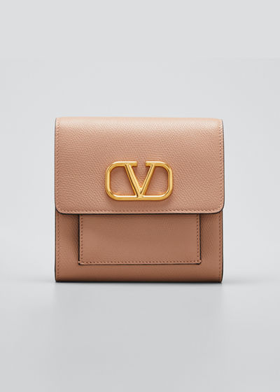VLOGO Soft Grain Leather Flap Wallet