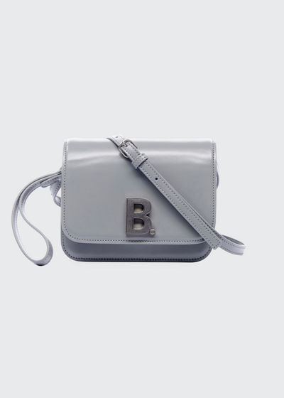 B Bag Small Shiny Box Calf Crossbody Bag