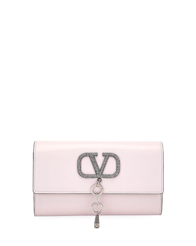 VCASE Crystal-Logo Clutch Bag