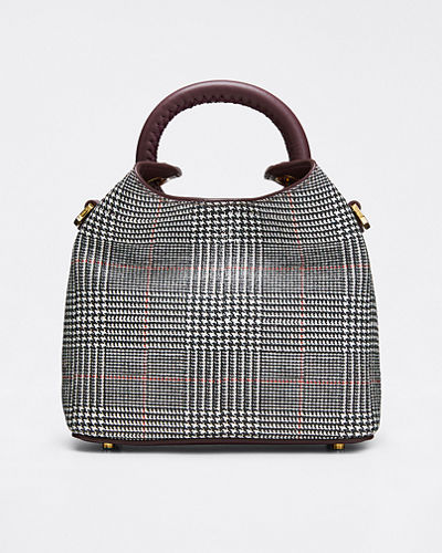 Medeleine Houndstooth Bucket Bag