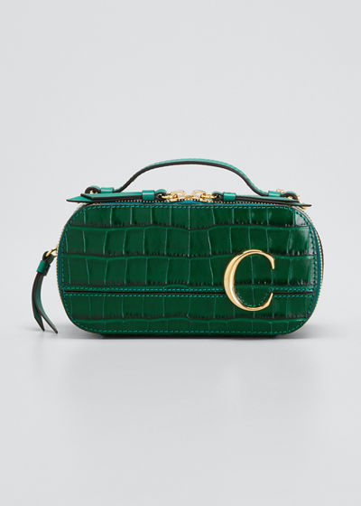 C Multi Crocodile-Embossed Crossbody Bag