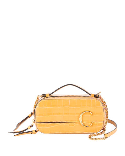 C Crocodile-Embossed Multi-Compact Crossbody Bag