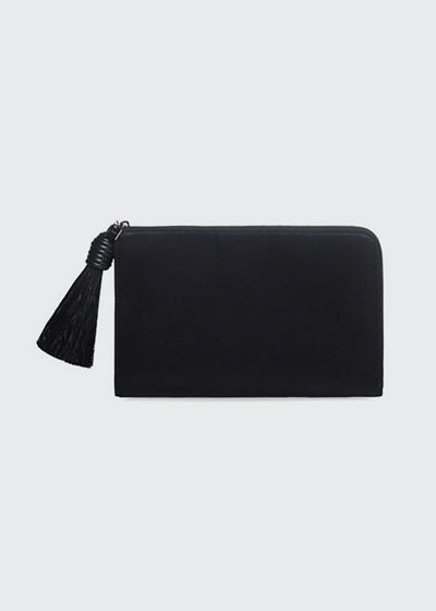Alexa Zip Pouch Clutch Bag with Horsehair Tassel