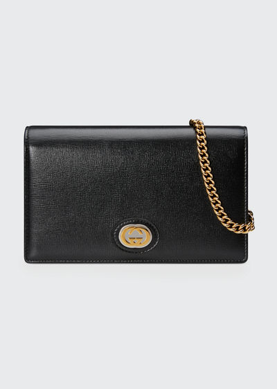 Marina Leather Flap Card Case Wallet on Chain