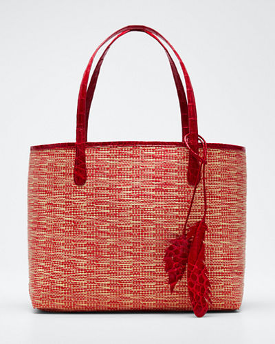 Erica Medium Raffia Leaf Tote Bag