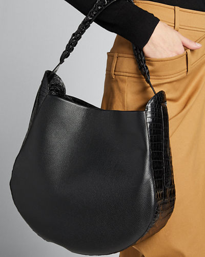 Leather and Croco Hobo Bag