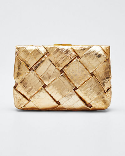 Small Woven Frame Clutch Bag