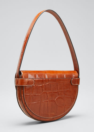 Stamped Crocodile Amal Shoulder Bag