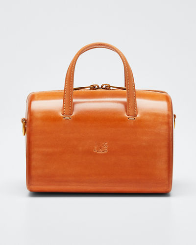 Structured Leather Satchel Bag