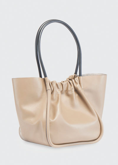 Large Ruched Smooth Tote Bag