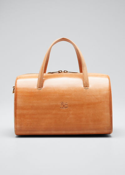 Structured Leather Duffle Satchel Bag