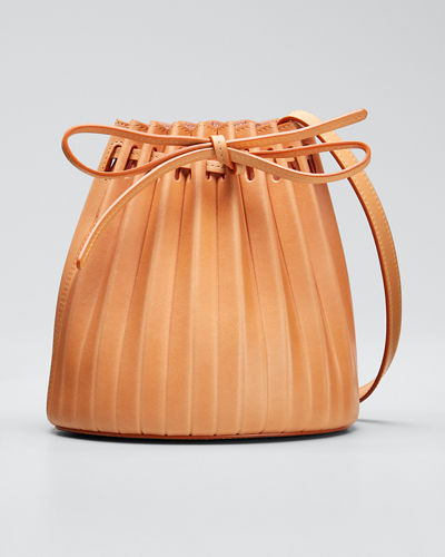 Mini Pleated Vegetable-Tanned Bucket Bag