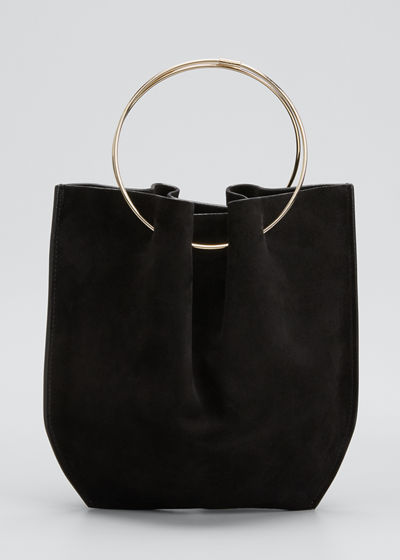 Flat Micro Circle Bag in Suede
