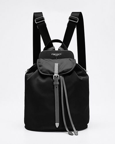 Nylon and Saffiano Leather Flap Backpack