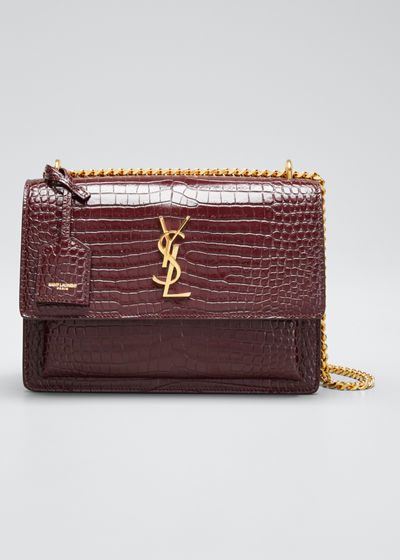 Sunset Medium Croc-Embossed Crossbody Bag