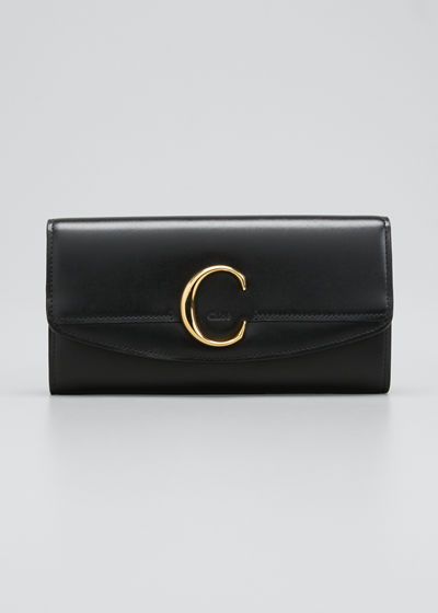 C Long Smooth Leather Wallet With Flap