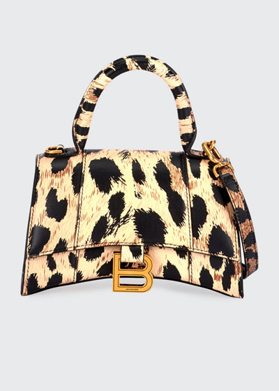 Hourglass XS Leopard-Print Leather Top-Handle Bag