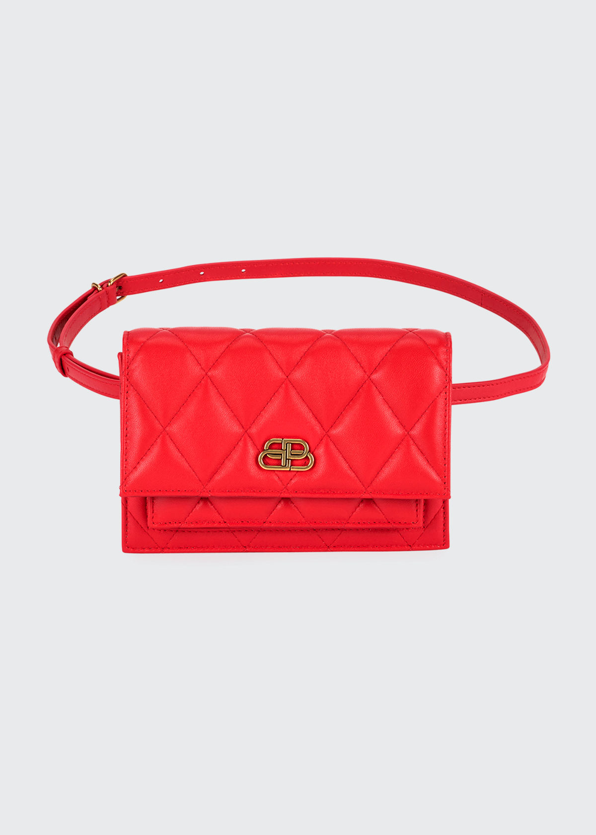 Balenciaga Sharp Quilted Xs Belt Bag In Red