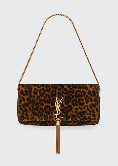 Kate YSL Monogram Leopard Shoulder Bag w/ Tassel