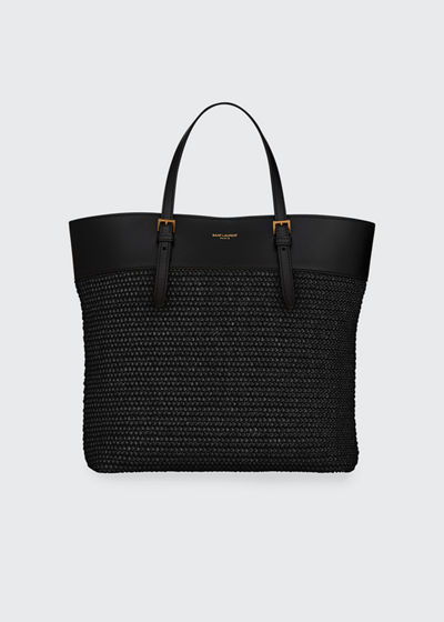 YSL Raffia Small Shopper Tote Bag