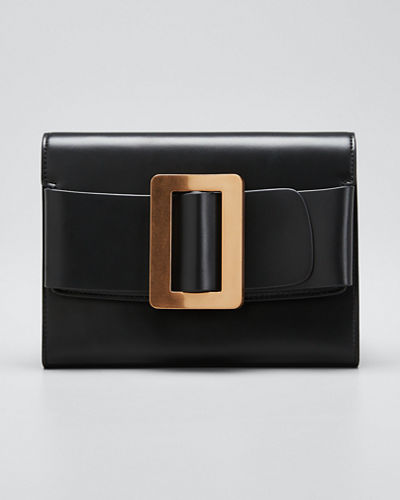 Leather Buckle Crossbody Clutch Bag