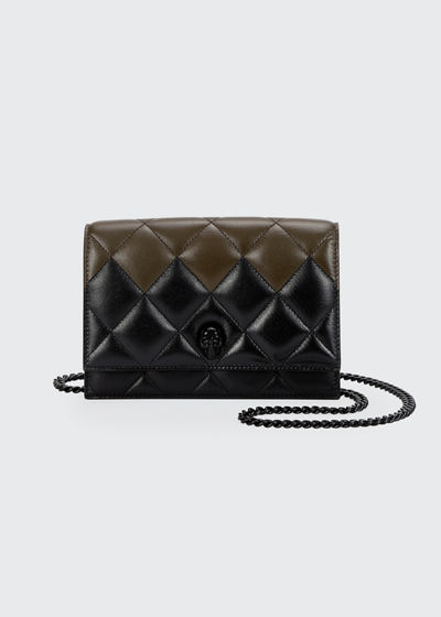 Two-Tone Quilted Leather Small Skull Bag