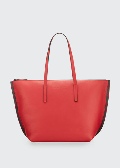 Large Zip Tote Bag With Monili Side Detail