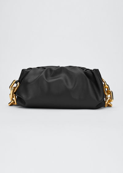 Medium Ruched Napa Chain Clutch Bag