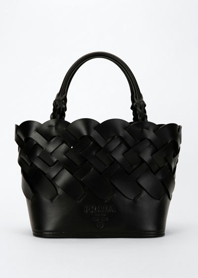 Woven Leather Bucket Tote Bag