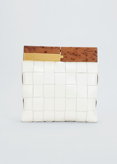 Fold-Over Wood Top Clutch Bag