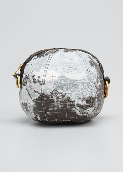Globe Printed-Leather Round Zip Clutch