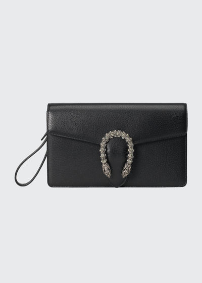 Dionysus Leather Wristlet Clutch Bag with Tiger