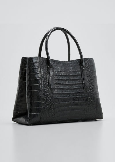 Medium Top Handle Crocodile Tote Bag
