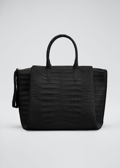 Soft Zip Crocodile Satchel Bag