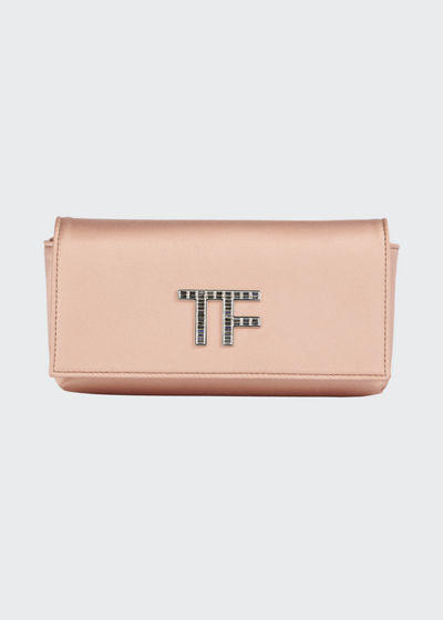 Satin Evening Clutch Bag with Pave TF Logo