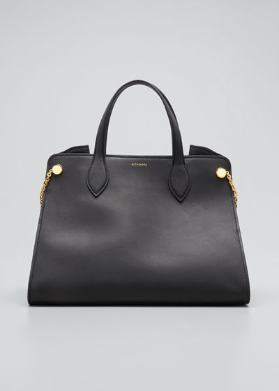 Medium Leather Top Handle Tote Bag