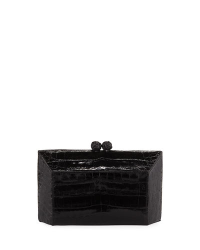 Gramercy Faceted Crocodile Minaudiere Clutch Bag