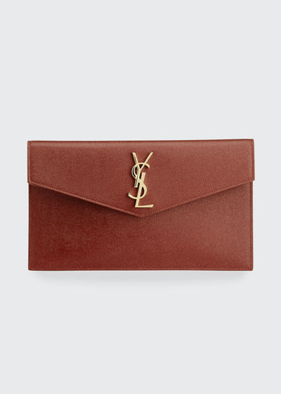 Uptown Medium YSL Monogram Grain de Poudre Clutch Bag