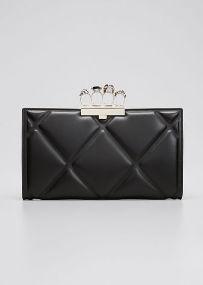 Skull Four-Ring Quilted Clutch Bag