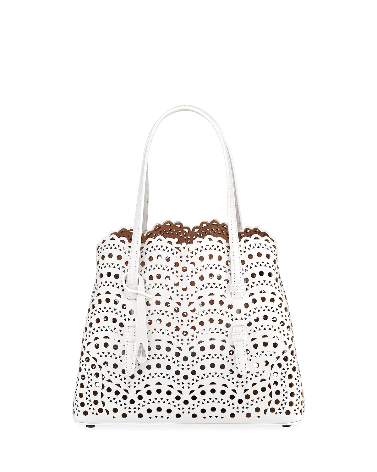 Alaïa Leathers MINA SMALL LASER-CUT TOTE BAG