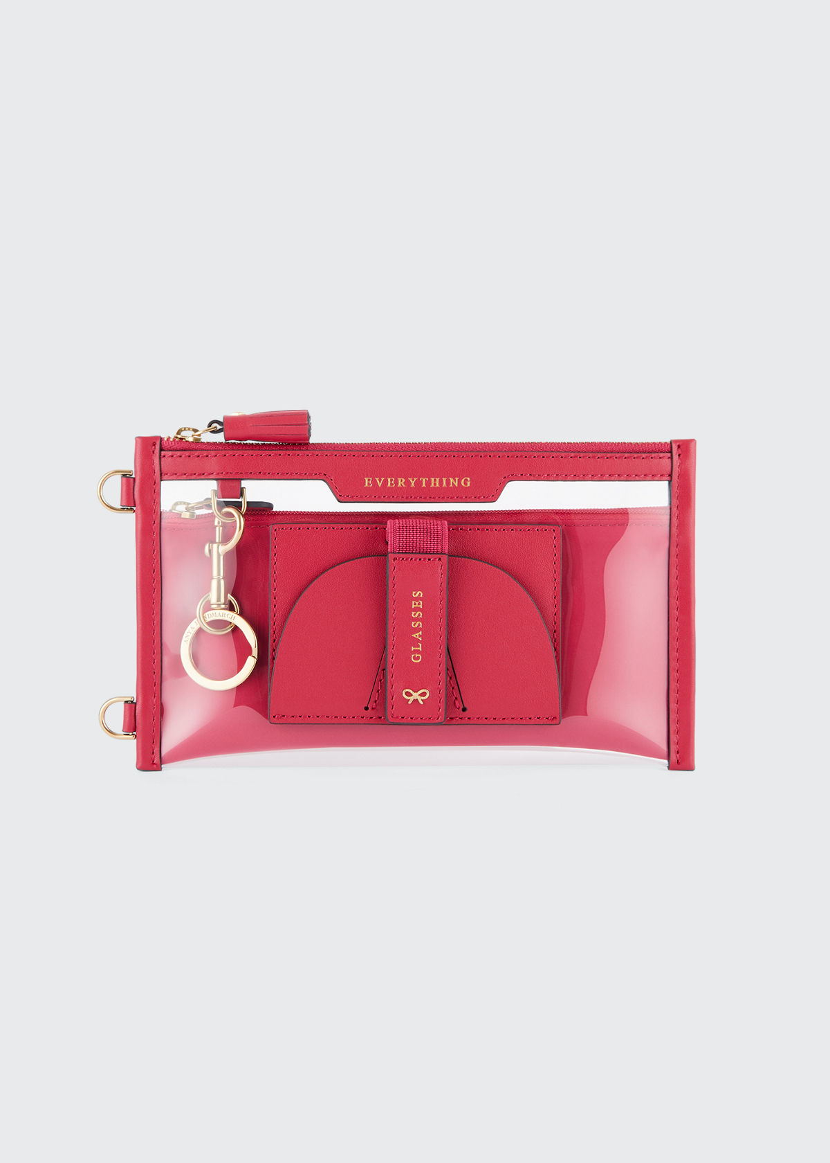 Anya Hindmarch EVERYTHING POUCH CLEAR CROSSBODY BAG, HOT PINK