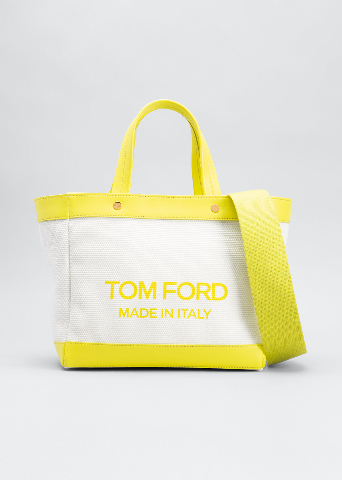 Tom Ford Canvas Mini Logo Shopping Tote Bag In White Yellow