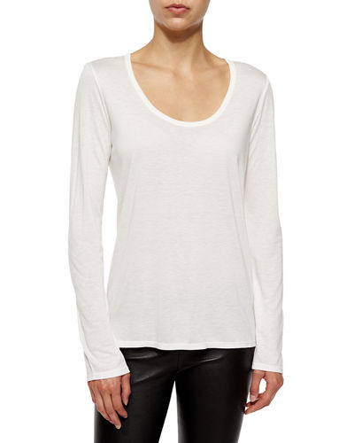 Long-Sleeve Scoop-Neck Tee