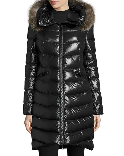 Shiny Quilted Down Coat w/Fox Fur Hood