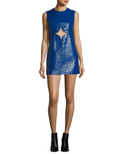 Cutout Vinyl Shift Dress