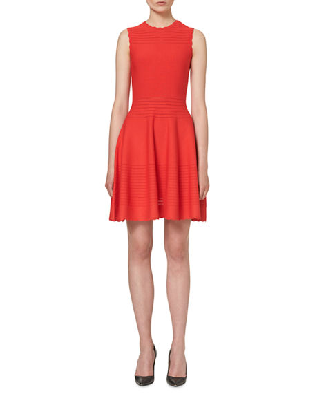 Carolina Herrera Knits SCALLOPED SLEEVELESS KNIT DRESS