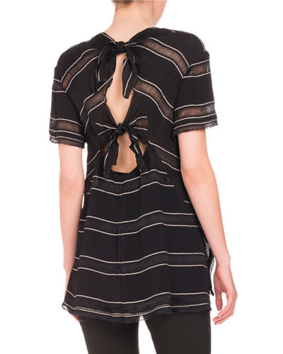 Short-Sleeve Sheer-Striped Top