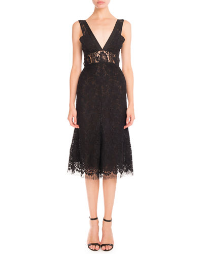 Plunging V-Neck Sheer-Waist Lace Dress