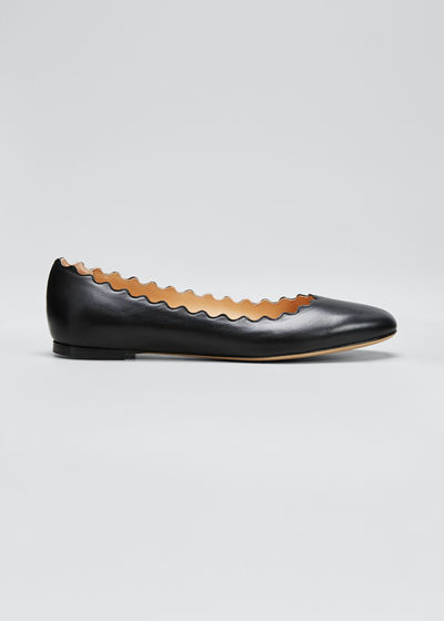 Lauren Scalloped Leather Ballet Flats
